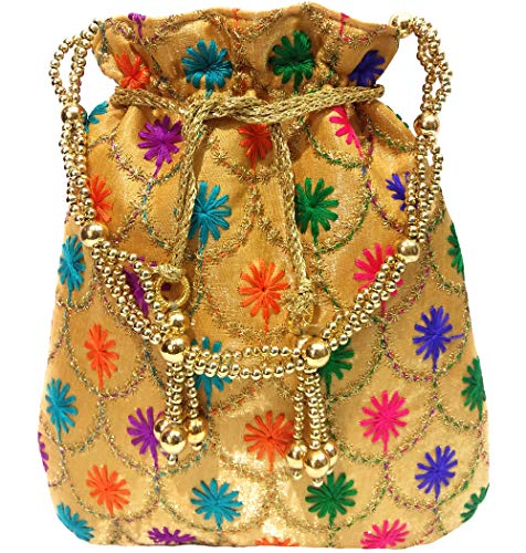 Wedding Women Purse Party Designer Bridal Clutch/Jewelry Pouch/Indian Evening Potli Handbag (10 x 8 x 1.75 inches, Embroided - Designer Jewelry Bridal