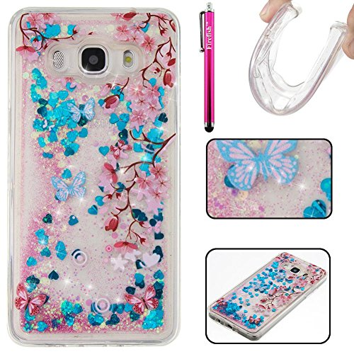 Galaxy J510 2016 Case, Firefish Glitter Liquid Cover Slim Soft TPU Rubber Silicone Case Impact Resistant Durable Protective Case for Samsung Galaxy J510 2016 - Bag Boy Holster Liquid