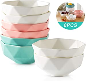9 OZ 8 Set Porcelain Dessert Bowl, 4.5 Inches White Matte Bowls, Durable Creme Brulee Bowl for Dessert/Ice Cream/Snack/Souffle, (White-Blue-Pink)
