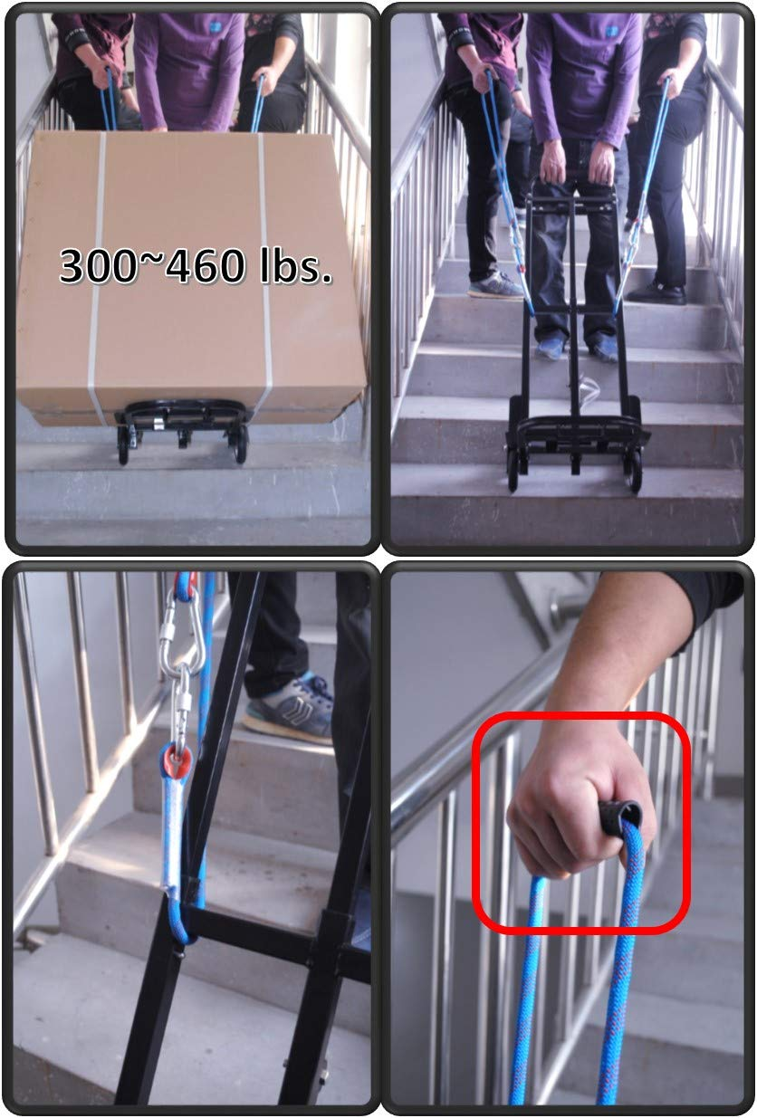 Mecete Stair Climbing Cart Portable Climbing Cart 330 lb Largest Capacity All Terrain Stair Climbing Hand Truck Heavy Duty with 6 Wheels Black Baking Varnish Surface Shining