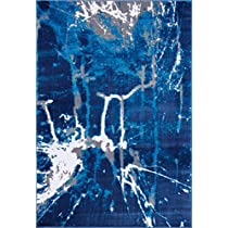 Ladole Rugs Anise Collection Soft Contemporary Abstract Area Rug Carpet in BlueGrey