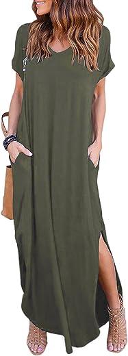 فستان نسائي صيفي كاجوال طويل فضفاض ذو فتحة جانبية وجيوب واكمام قصيرة من هسكاري