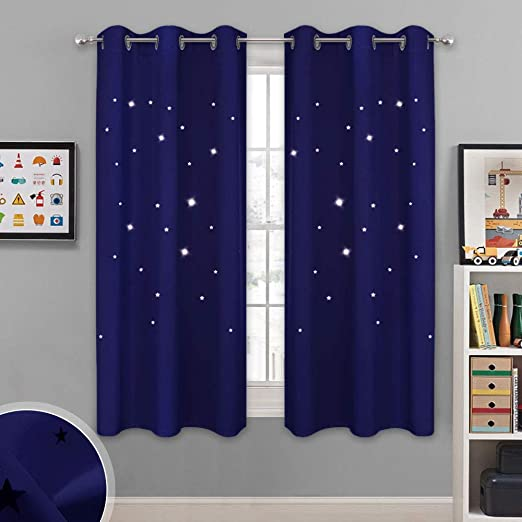 Amazon Com Nicetown Blackout Curtains For Bedroom Star Cutout Theme Window Treatments Light Blocking Curtains Drapes For Kids Room 42w X 63l 1 Set Navy Blue Kitchen Dining