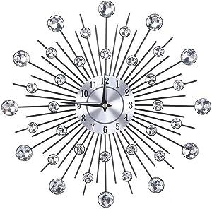KSTE Sparkling Bling Metallic Silver Flower-Shaped Wall Clock for Living Room Office(Round Flower)