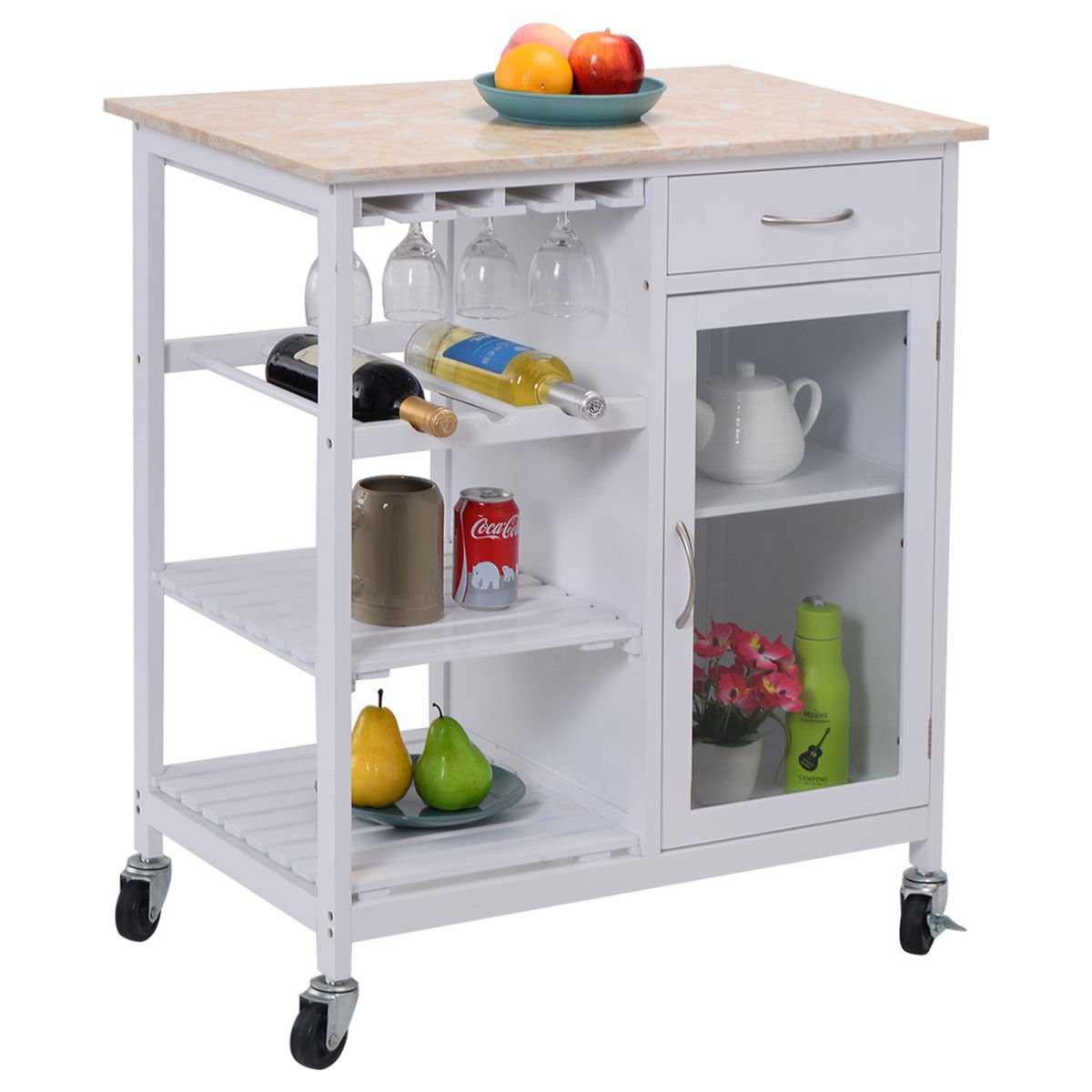 Amazon.com: Eight24hours Portable Kitchen Rolling Cart Faux Marble ...