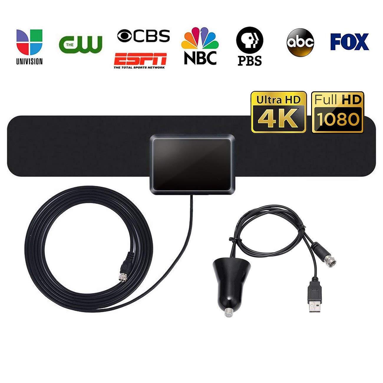 ベスト増幅50~90マイルテレビアンテナ – 2019年最新バージョン4K 1080P HD屋内デジタルテレビアンテナ 10フィート同軸ケーブル付き すべてのテレビ用   B07MYGJGGV