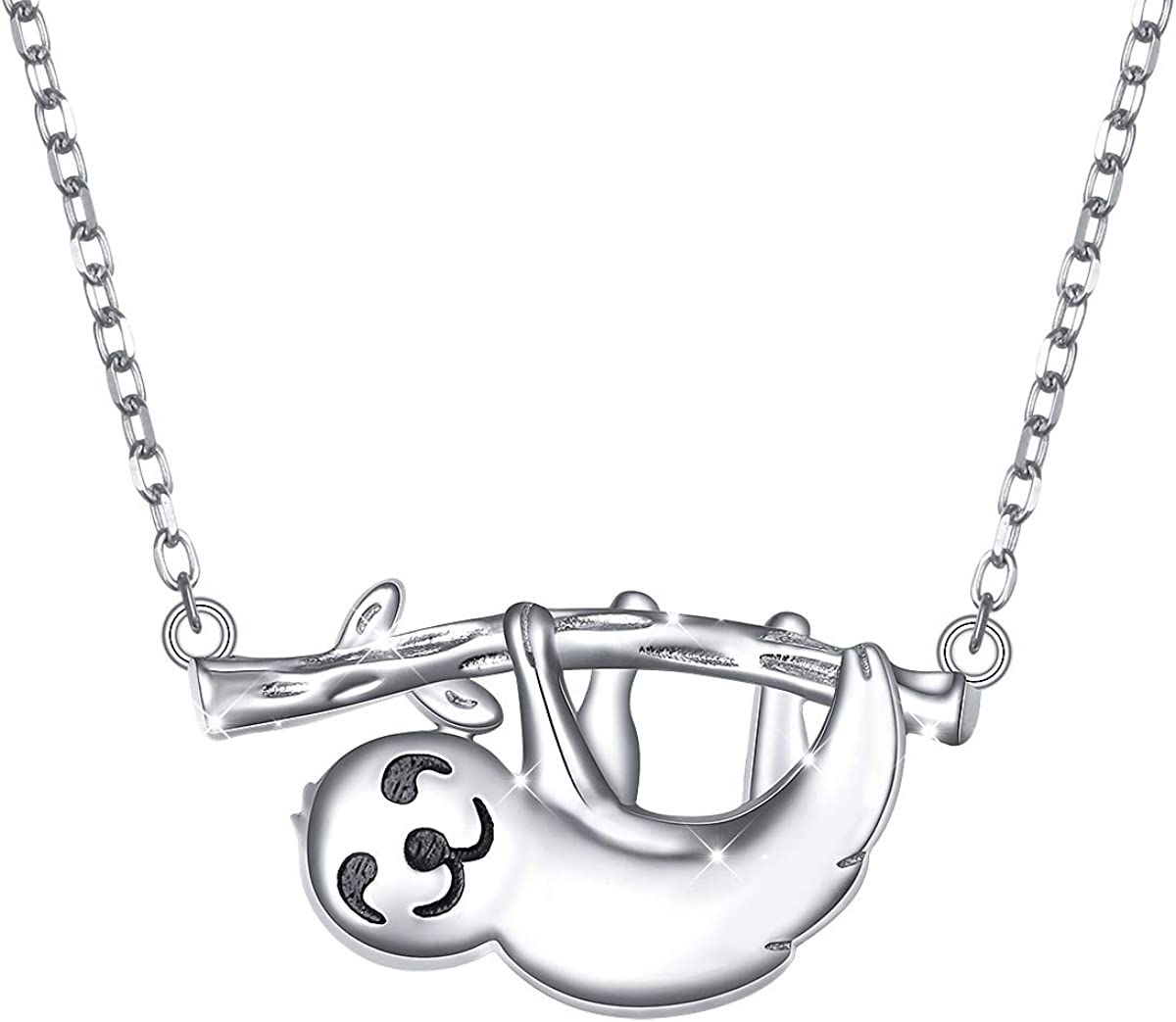 FLYOW 925 Sterling Silver What's The Rush Cute Animal Sloth Pendant Necklace Birthday Gift for Women Teen Girls,16+2 inch