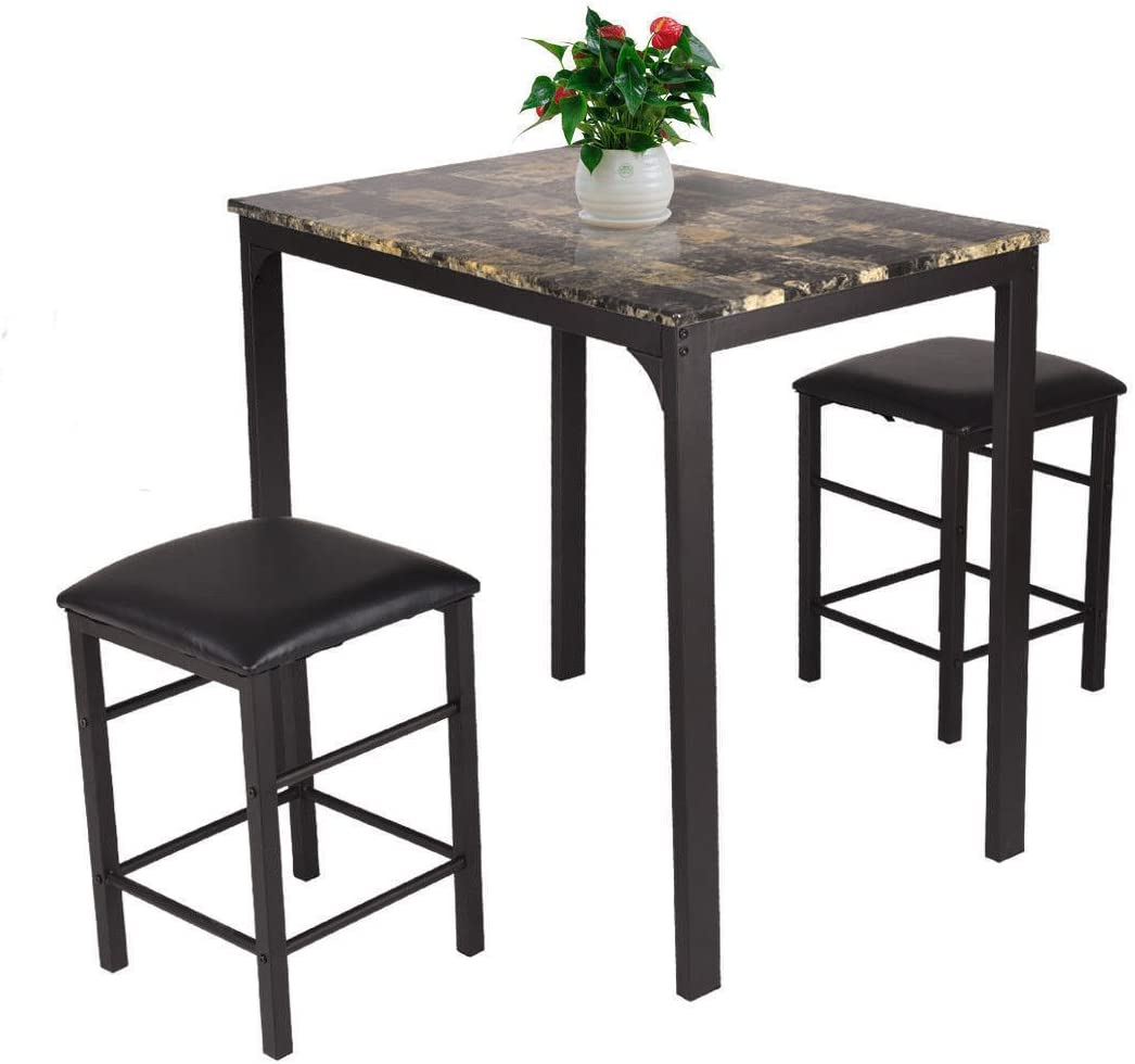 Giantex 3 PCS Table Set Faux Marble Counter Home Kitchen Bar Dining Table with 2 Stools  sc 1 st  Amazon.com : kitchenette table sets - pezcame.com