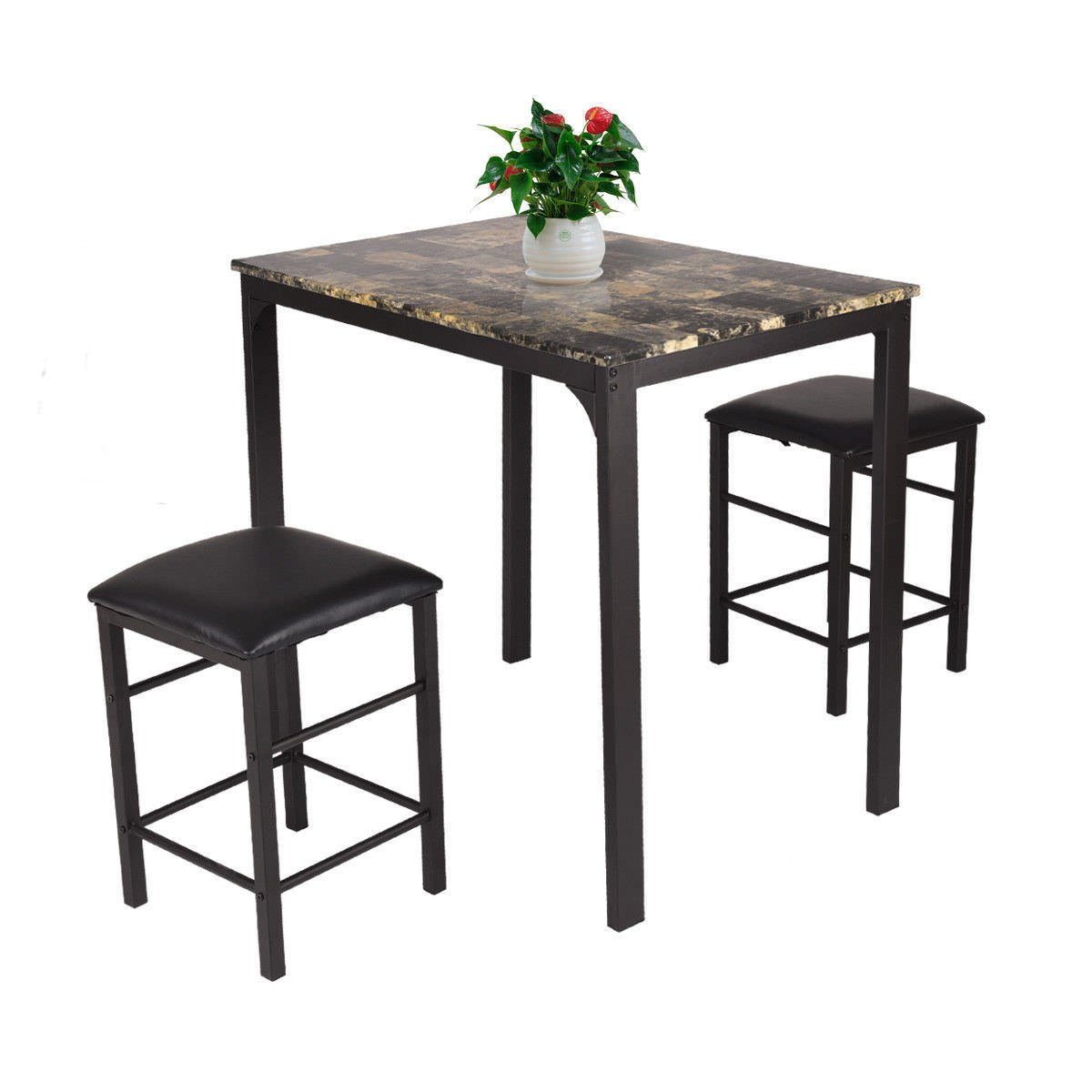 Contemporary 3 PCS Counter Height Dining Set, Faux Marble Table With 2 Cushioned Chairs, Kitchen Bar Furniture, Space Saving, Suitable for Home or Pub, Dark Brown Finish