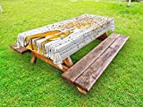 Ambesonne Hunting Outdoor Tablecloth, Fox Hunting in Autumn Forest Birch Trees Rustic Life Wilderness Animal, Decorative Washable Picnic Table Cloth, 58 X 84 inches, Orange White Black