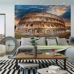 Italian Decor Huge Photo Wall Mural,View of Colosseum Under Autumn Sunset in Rome Italian Landmark Historical Print Decorative,Self-Adhesive Large Wallpaper for Home Decor 100x144 inches,Blue Tan