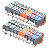 20 Pack - Compatible Ink Cartridges for Canon PGI-220 & CLI-221 PGI-220BK CLI-221BK CLI-221C CLI-221M CLI-221Y Inkjet Cartridge Compatible With Canon PIXMA IP3600 PIXMA IP4600 PIXMA IP4700 PIXMA MP540 PIXMA MP560 PIXMA MP620 PIXMA MP620B MP640