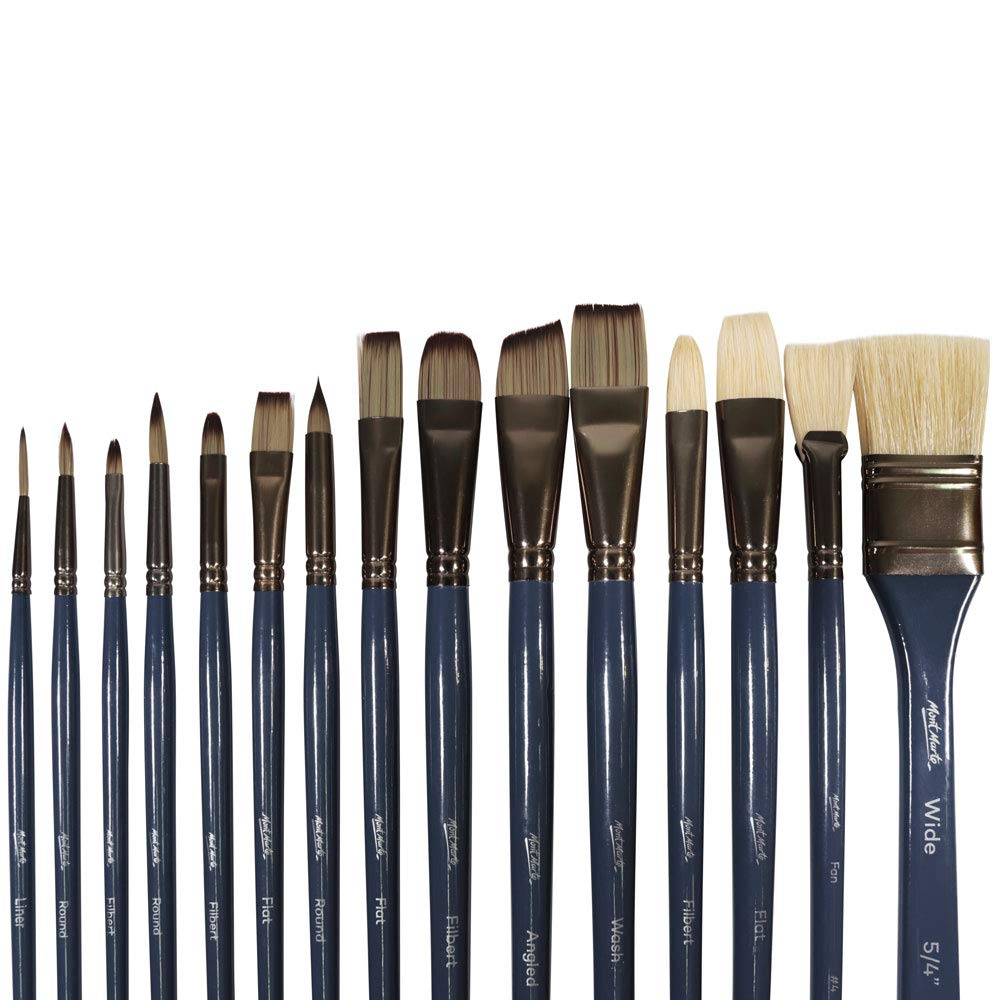 Mont Marte Premium Paint Brush Set 15 Piece, Includes 15 Different Brushes in a Roll Case with Magnetic Closure, Suitable for Watercolour, Acrylic and Oil Painting