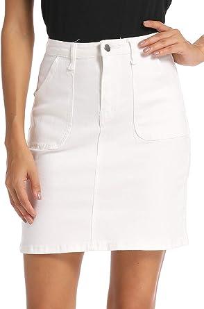 kefirlily Falda Vintage de Vaquero Corto Slim Fit Mujer Cintura Alta ...