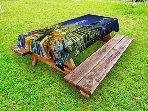Lunarable Urban Outdoor Tablecloth, Bangkok City Night View Highways Buildings Traffic Modern Business Theme, Decorative Washable Picnic Table Cloth, 58 X 84 Inches, Navy Blue Green Yellow (Furniture Outdoor Bangkok)
