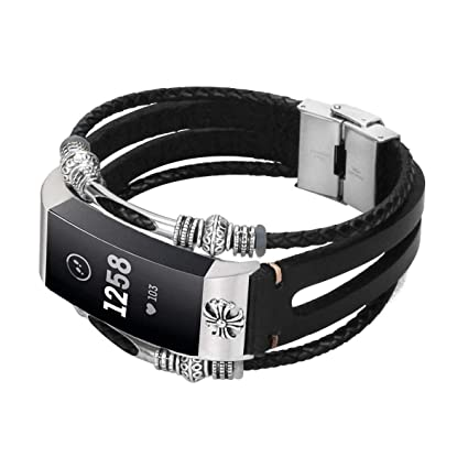 Azadodo Leather Bands Compatible Fitbit Charge 3, Vintage Genuine Leather  Replacement Bracelet Jewelry Wristband Strap Fitbit Charge 3