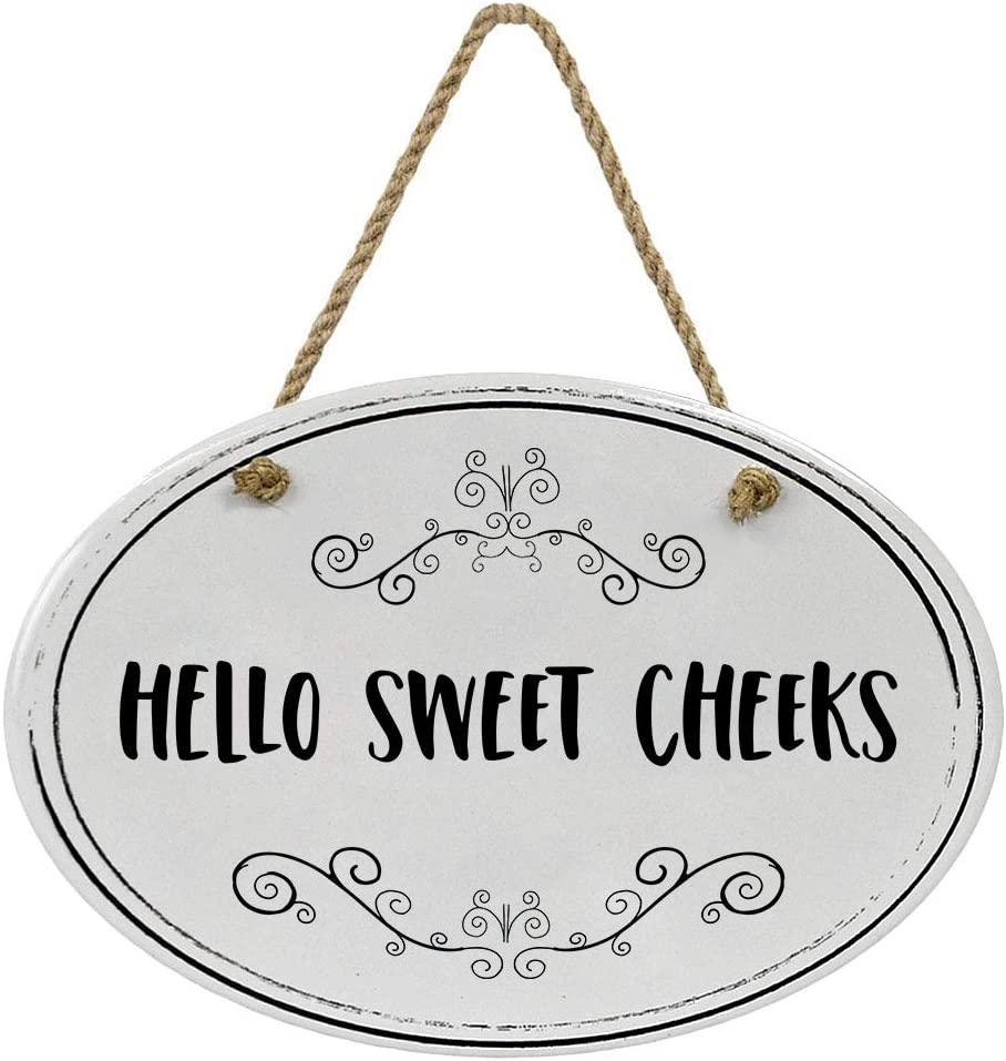 """Cedar Crate Market Hello Sweet Cheeks Ceramic Funny Bathroom Sign 8 3/4"""" x 6"""" x 5/16"""" Home Décor Collection 