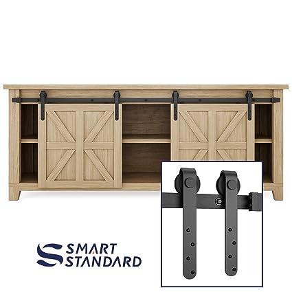 7ft Double Door Cabinet Barn Door Hardware Kit Mini Sliding Door Hardware For Cabinet Tv Stand Simple And Easy To Install Fit 28 Wide Door