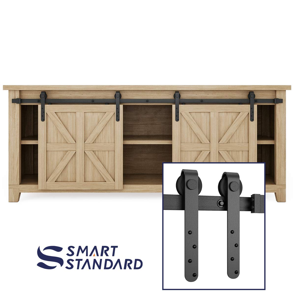 7ft Double Door Cabinet Barn Door Hardware Kit- Mini Sliding Door Hardware - for Cabinet TV Stand - Simple and Easy to Install - Fit 28'' Wide Door Panel (No Cabinet) (Mini J Longer Shape Hangers)