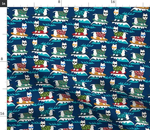 Spoonflower Westie Fabric - Dog Summer Westie Dog Surf Surfing Summer Beach Pet Portrait Gift by Petfriendly Printed on Fleece Fabric by The Yard