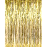 1 Pack 3.3' X 10' Gold Metallic Tinsel Foil Fringe Door Window Curtain Wedding Party Christmas Decoration