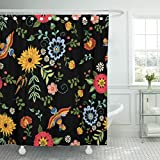 Emvency Shower Curtain Mexican Ethnic with Birds and Fantasy Flowers Embroidered Traditional Floral Design for Botanical Rose Waterproof Polyester Fabric 72 x 72 inches Set with Hooks