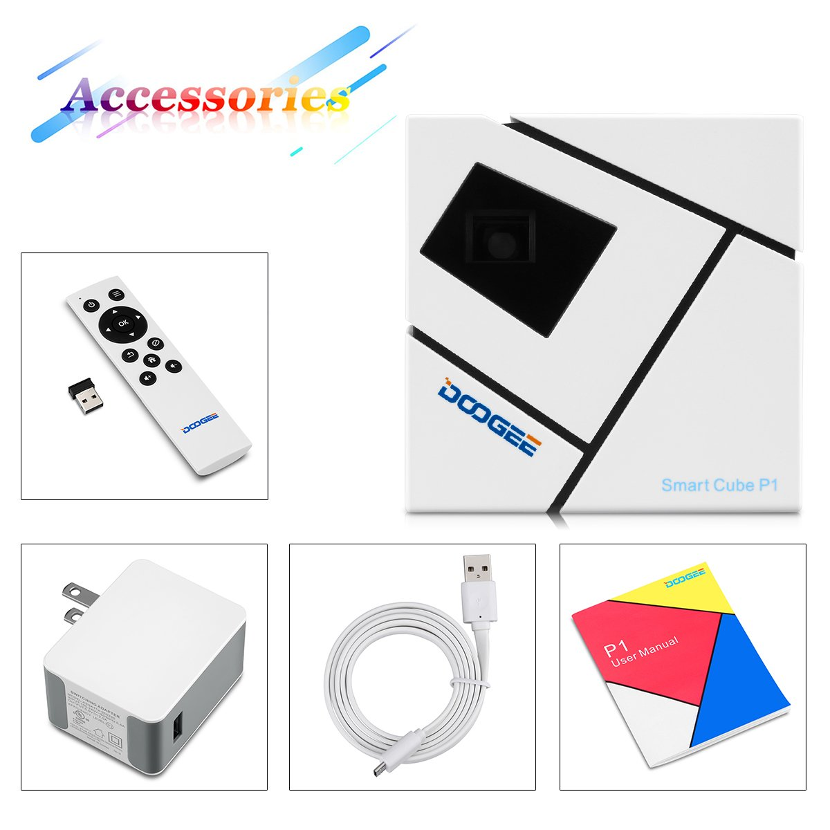 Doogee P1 - Cube Mini Proyector Smart con Multi-funcion (Teatro ...