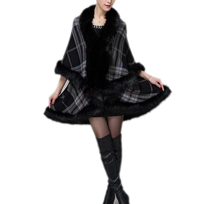 QPALZM Abrigo De Piel De Oveja Larga De Las Mujeres Patrón De Abrigo Chaqueta Outwear, Black-OneSize: Amazon.es: Ropa y accesorios