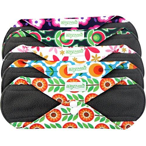 Wegreeco Bamboo Reusable Sanitary Pads - Cloth Sanitary Pads - Pack of 5 (Large,Flower) by Wegreeco