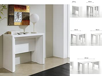 Table Console Extensible 40 240 Cm Coloris Blanc Laque Ruiz Y