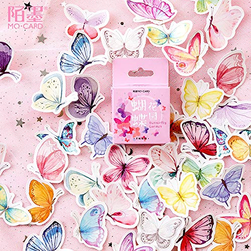 Small Size Scrapbooks Stickers, 46pcs Doraking Boxed DIY Butterfly Decoration Cute Stickers for Laptop Scrapbook Suitcase Diary Notebooks Album (Butterfly Garden, 46pcs/Box)