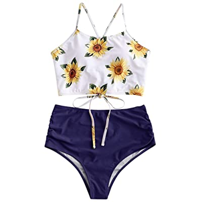 ZAFUL Sunflower Bikini Set Padded Lace Up Ruched Tankini High Waisted Bathing Suit: Clothing