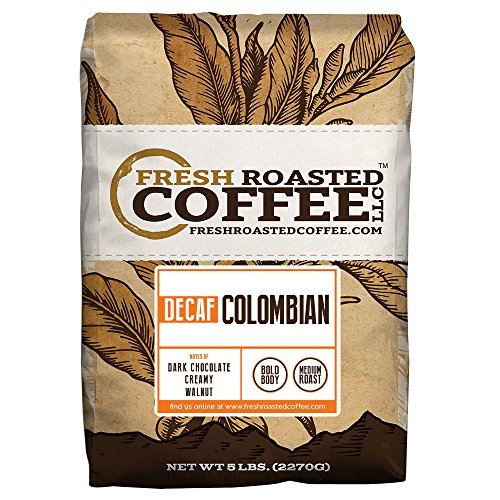 100% Colombian Decaf Coffee, Fresh Roasted Coffee LLC (5 lb. Whole Bean)
