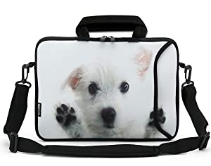 RICHEN 11 11.6 12 12.5 13 inches Case Laptop/Chromebook/Ultrabook/Notebook PC Messenger Bag Tablet Travel Case Neoprene Handle Sleeve with Shoulder Strap (11-13.3 inch, White Dog)