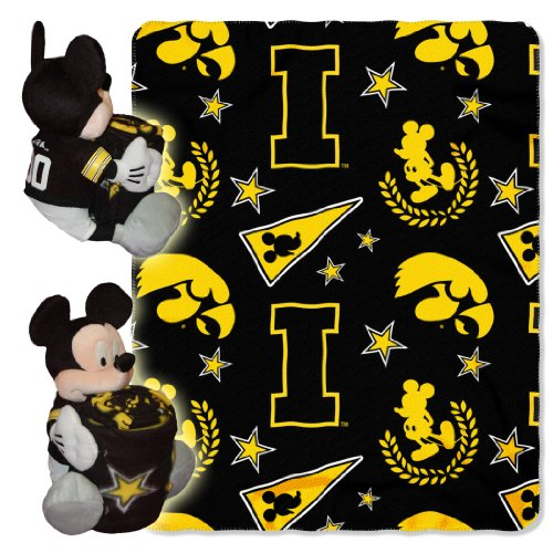 Iowa Hawkeyes Fleece Throw (NCAA Iowa Hawkeyes 40x50-Inch Throw with 14-Inch Hugger)