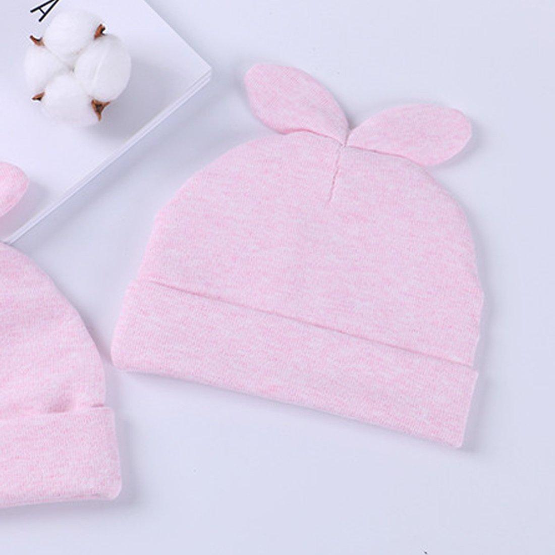 Rose Feoya Bonnet de Naissance Chapeau B/éb/é Fille Gar/çon Nouveau N/é en Coton Motif Lapin pour 0-3 mois