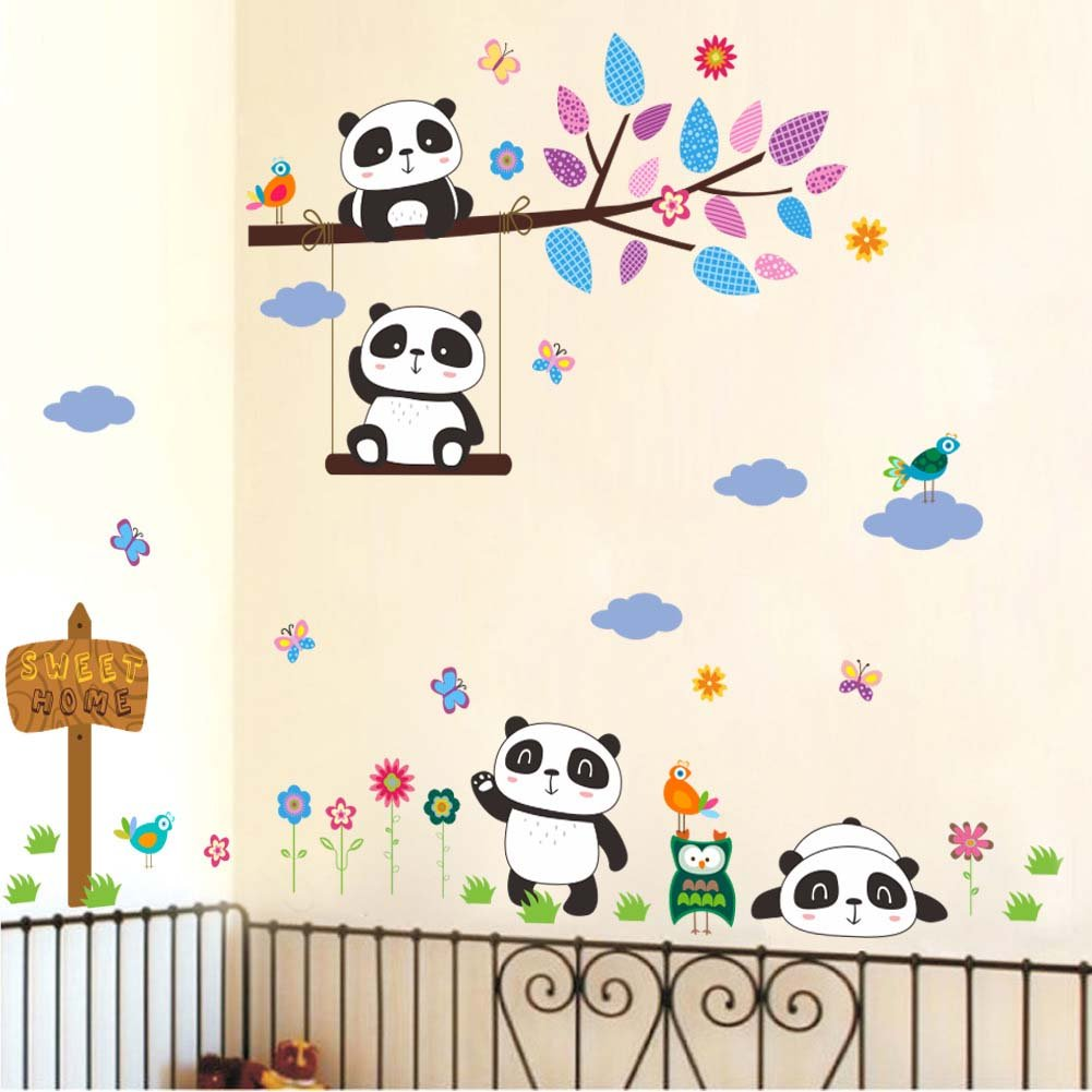 Vinilo Decorativo Pared [7211mt2w] Pandas