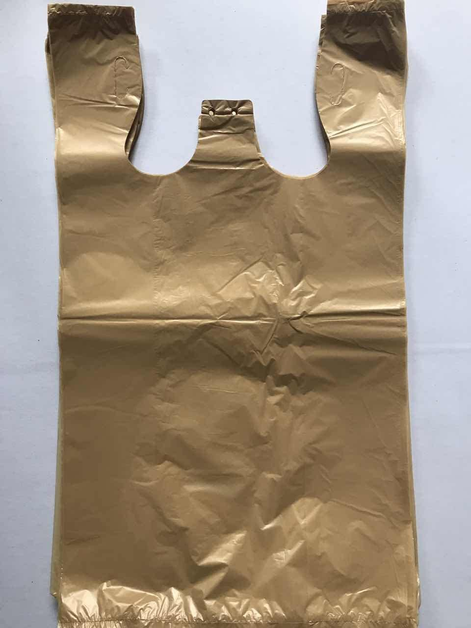 RG Large Plastic Grocery T-shirts Carry-out Bag Brown Unprinted 12 X 6 X 21 (100)