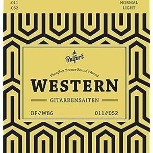 BELFORT® Gitarrensaiten für Westerngitarre – Premium Stahl Phosphor-Bronze (7 Saiten-Set) für Western-Gitarre…
