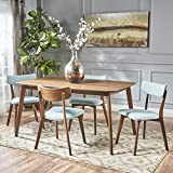 Cheap Aman Mid Century Natural Walnut Finished 5 Piece Wood Dining Set with Mint Fabric Chairs