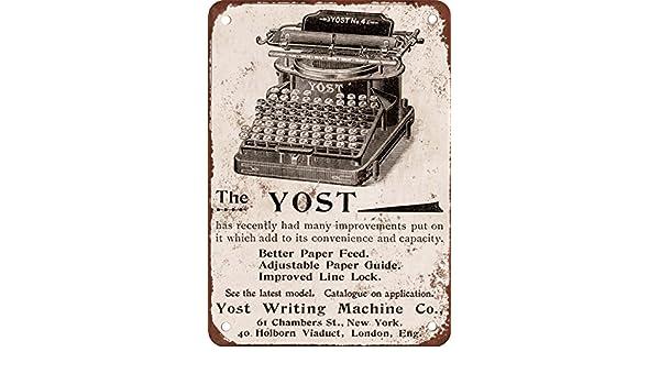 1896 Yost Máquinas de Escribir Vintage Look Reproducción Metal Tin Sign 12 x 18 Pulgadas: Amazon.es: Hogar
