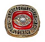 KANSAS CITY CHIEFS (Len Dawson) 1969 SUPER BOWL WORLD CHAMPIONS (Poise) Rare & Collectible High-Quality Replica NFL Football Gold Championship Ring with Cherrywood Display Box