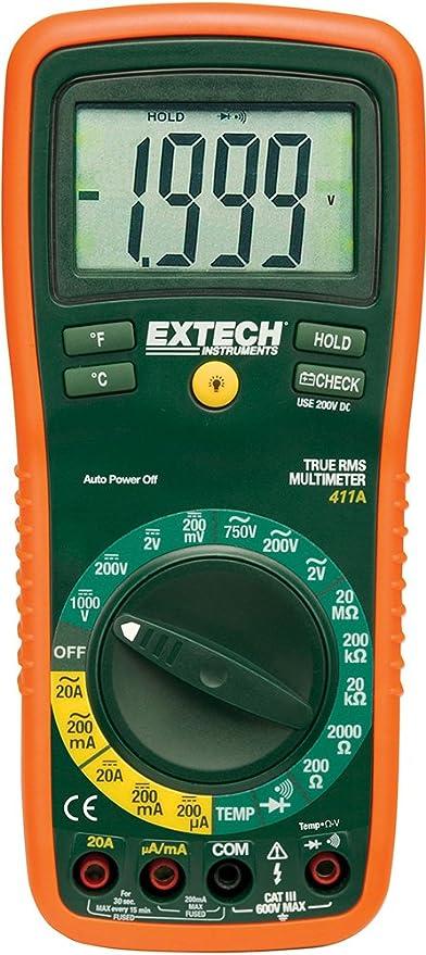 Extech ex411 a RMS verdadero Rango Manual Digital mustimeter con tipo K termómetro de sonda mando