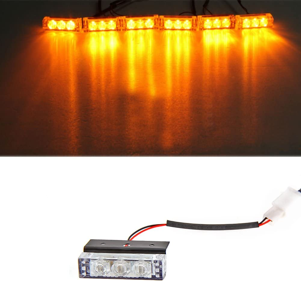 Car 3W 6 Amber LED Flashing Grill Lights Bar Strobes Warning Recovery Breakdown