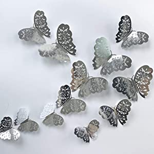 24Pcs Silver Butterfly Wall Sticker Decal 3D Metallic Art Butterfly Mural Decoration DIY Flying Stickers for Kids Bedroom Home Party Nursery Classroom Offices Décor (Flowers Silver 3)