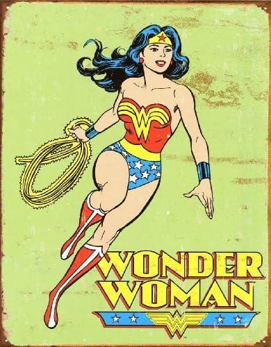 Amazon.com: Mujer Maravilla DC Comics Retro Cartel de chapa ...