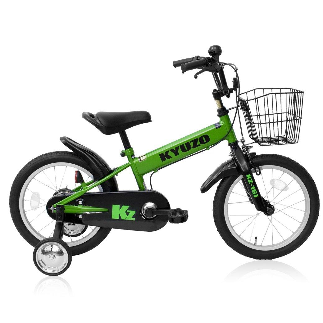全5色 KYUZO 16インチ 子供用自転車 補助輪付 カゴ付 B06Y4GBGSR グリーン グリーン