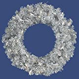 Allstate Pre-Lit Sparkling Silver Tinsel Artificial Christmas Wreath with Clear Lights, 24''