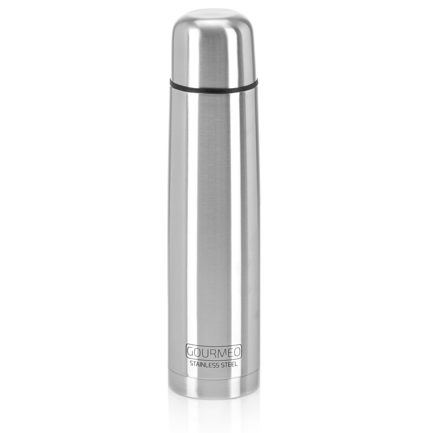 GOURMEO Vacuum Flask, 1 L, Stainless Steel, Double-Walled, with Push Button Closure | Thermos Flask eSpring GmbH