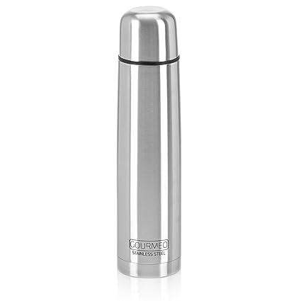GOURMEO SC-241 - Termo de acero inoxidable, 1 L, Aislamiento de pared doble con cierre de botón